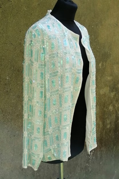 Silk white and aqua sequin and beaded cardigan, U.SEQ2.02, side
