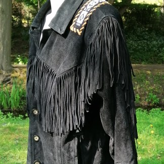 Suede Western Fringe Black Beads, side