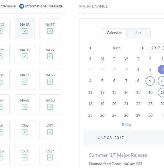 Find your Salesforce Summer '17 release date