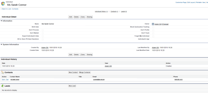 Salesforce Data Privacy Record - aka Individual Record