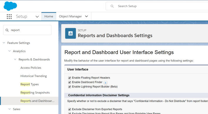 Enable Lightning Report Builder (Reports and dashboards in Spring '18)