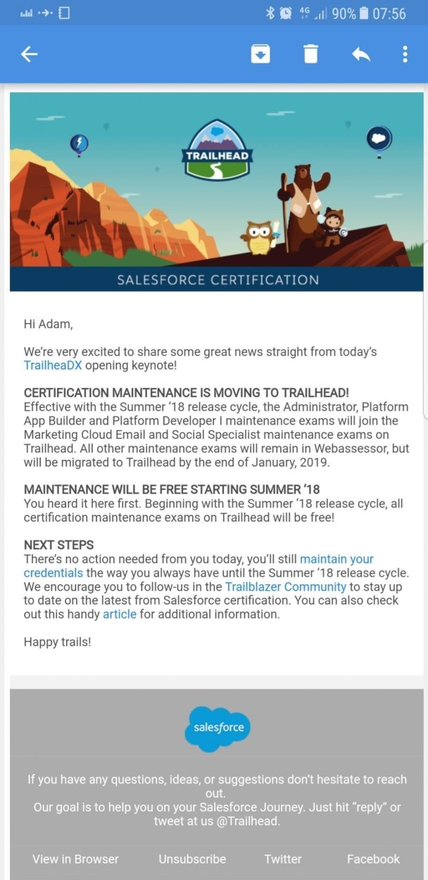 Salesforce Certification Maintenance Exams are now moving to Trailhead and will be free...