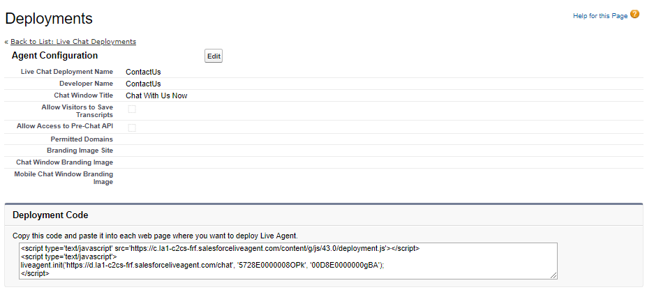 Live Agent in Salesforce: Deployments