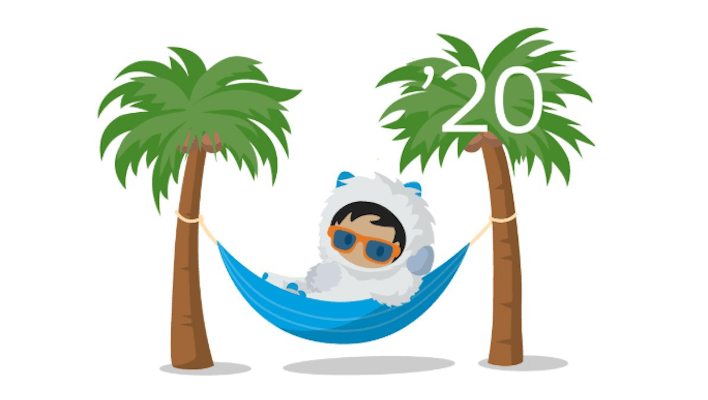 Salesforce Winter 20 logo, astro in a hamock