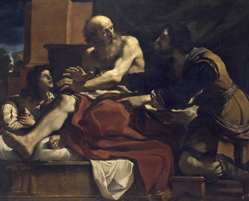 Vayechi. Jacob, Ephraim, and Manasseh, painting by Guercino. Public Domain