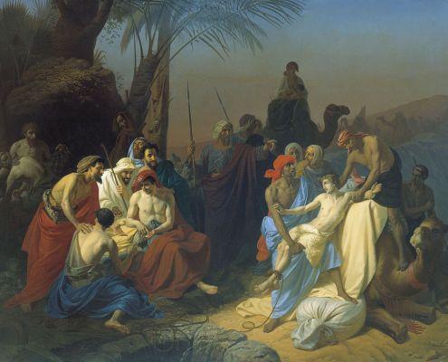 Vayeshev. Joseph's Brothers Sell Him into Captivity (1855 painting by Konstantin Flavitsky). Public Domain