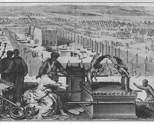 The Erection of the Tabernacle and the Sacred Vessels (illustration from the 1728 Figures de la Bible)