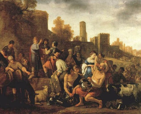 Moses Ordering the Slaughter of the Midianites (1650 painting by Claes Corneliszoon Moeyaert)