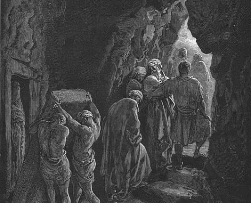 Chayei_Sarah. Burial of Sarah (engraving by Gustave Doré from the 1865 La Sainte Bible). Public Domain