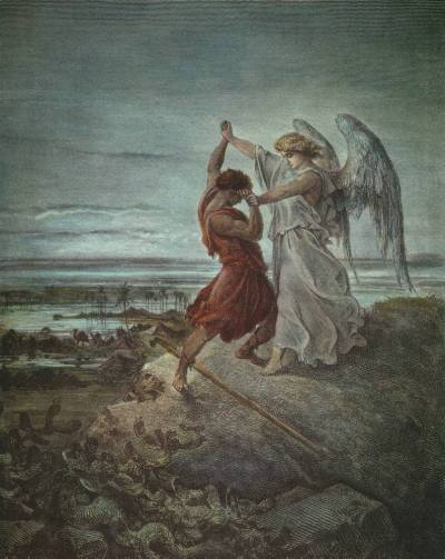 Vayishlach. Jacob Wrestling with the Angel (1855 illustration by Gustave Doré). Public Domain