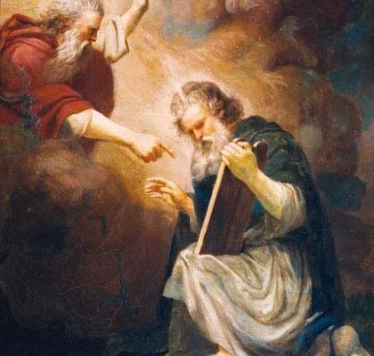 Moses Receives the Tablets of the Law (1868 painting by João Zeferino da Costa). Public Domain