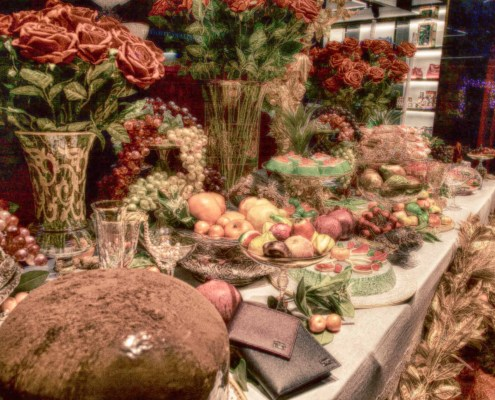 © James Williams. Abundance. A display in a shop window in one of the affluent areas of London. Abundance for a few!