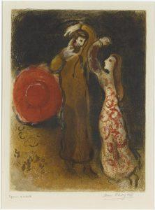 Rencontre de Ruth et de Booz. Marc Chagall, 1960. Musée national Message Biblique Marc Chagall, Nice, France