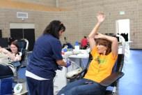 Carol, after donating a pint of life-saving blood.