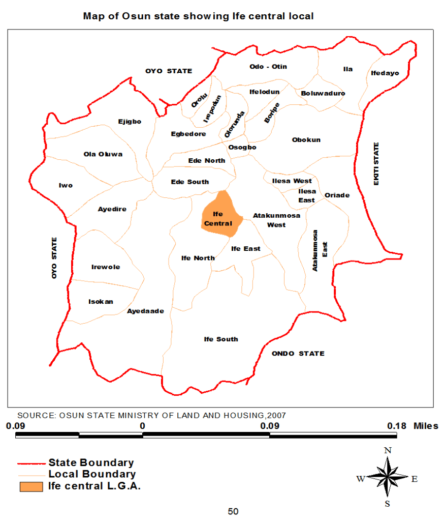 Map of Osun state showing Ife central local