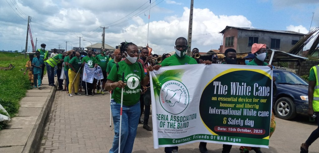 Members of Nigeria Association of the Blind having an awareness walk in Epe area of Lagos State