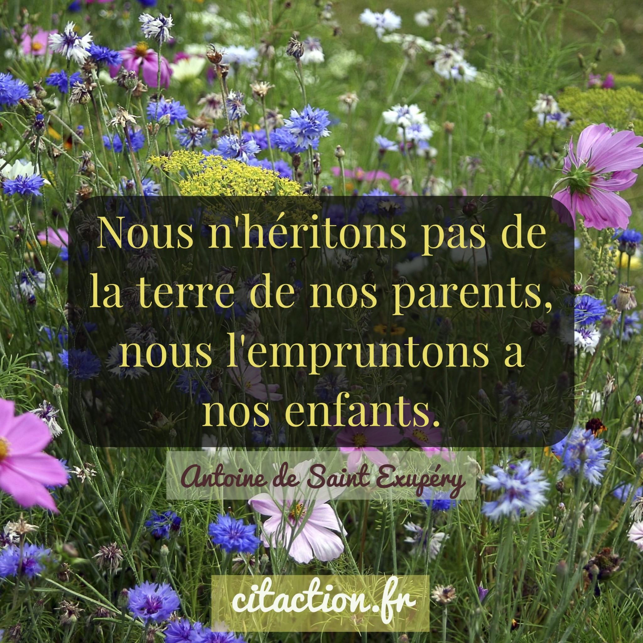 Nous n'héritons pas de la terre de nos parents, nous l'empruntons a nos enfants