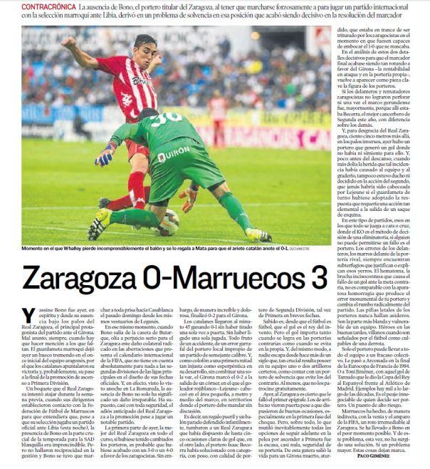 Zaragoza 0 - Marruecos 3