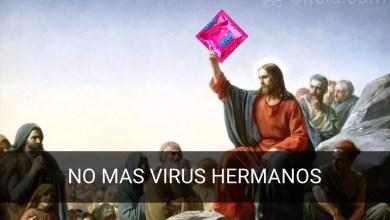 Imagen de jesucristo con un profiláctico Como prevenir virus informaticos