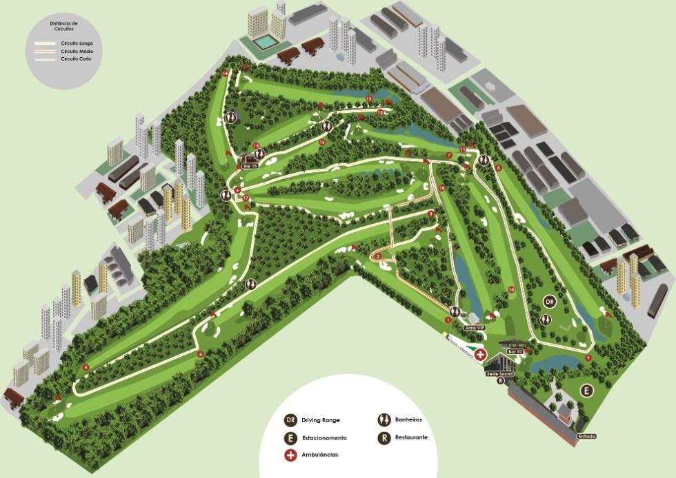 Mapa do campo São Paulo Golf Club para torneio.
