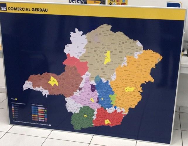 Mapa com municípios identificando as áreas de atuação de cada filial
