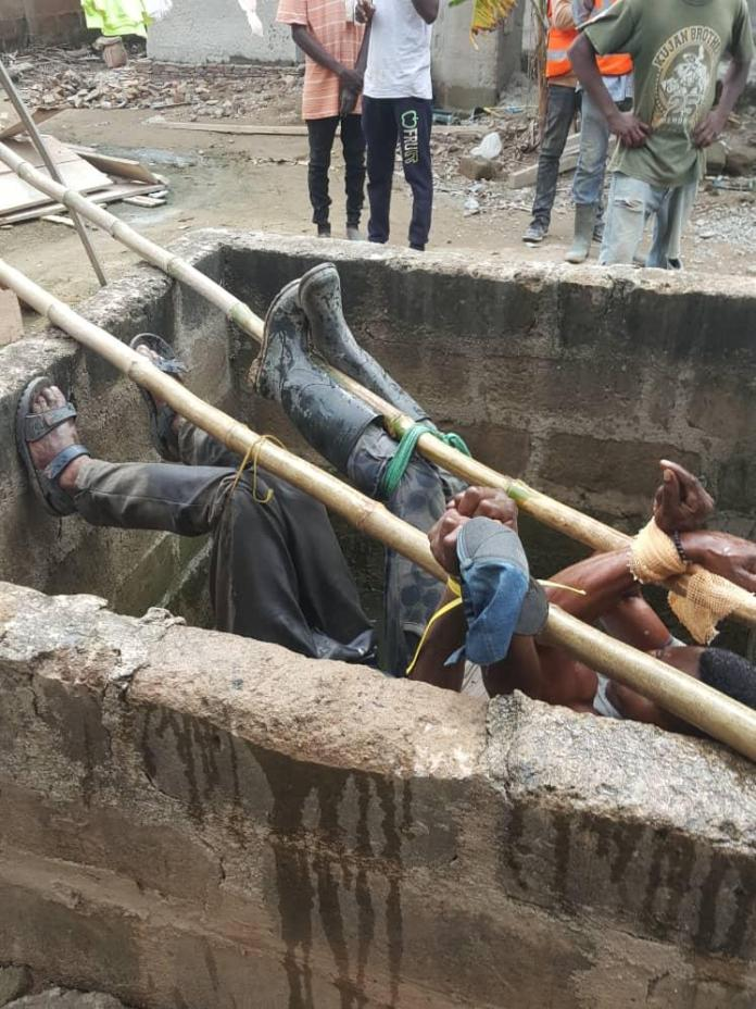 2 masons rescued after they were tied in a manhole for alleged theft