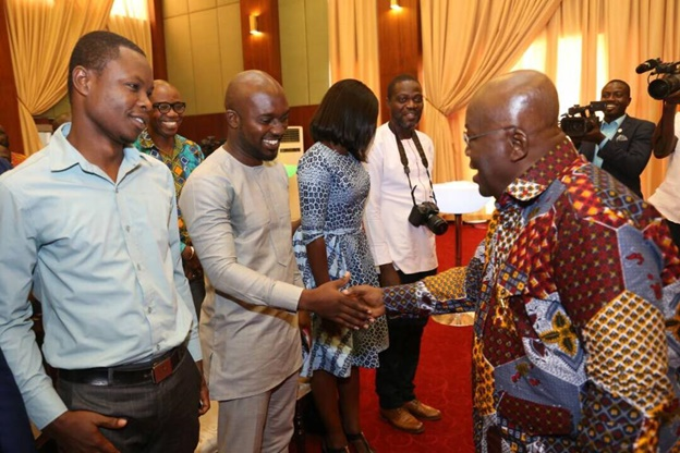 President Akufo-Addo in a hand shake with Sammi Wiafe