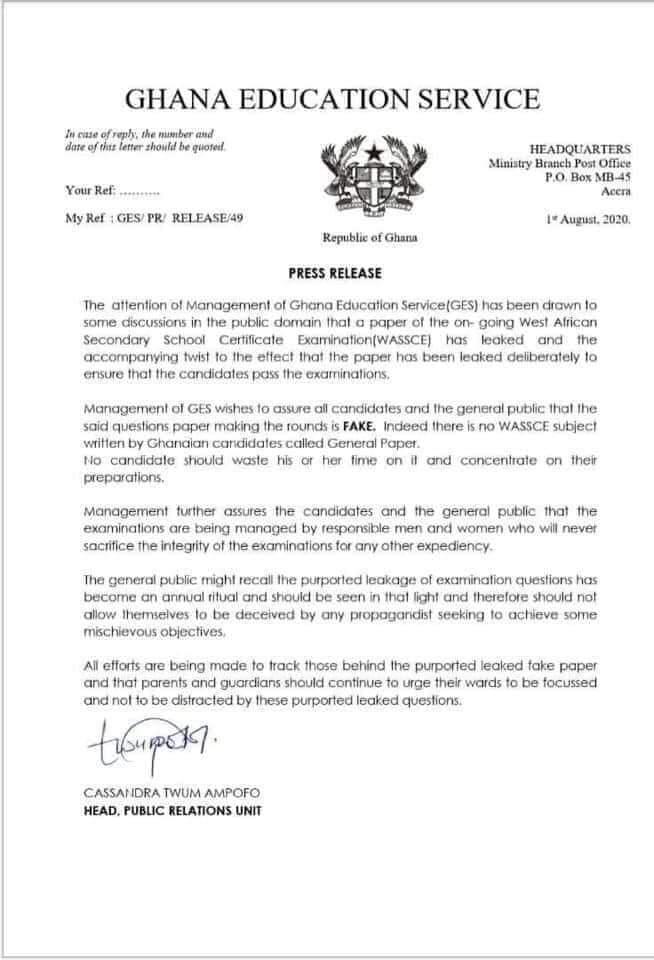 WAEC alerts BNI, CID after circulation of 'fake' 2020 WASSCE papers 2