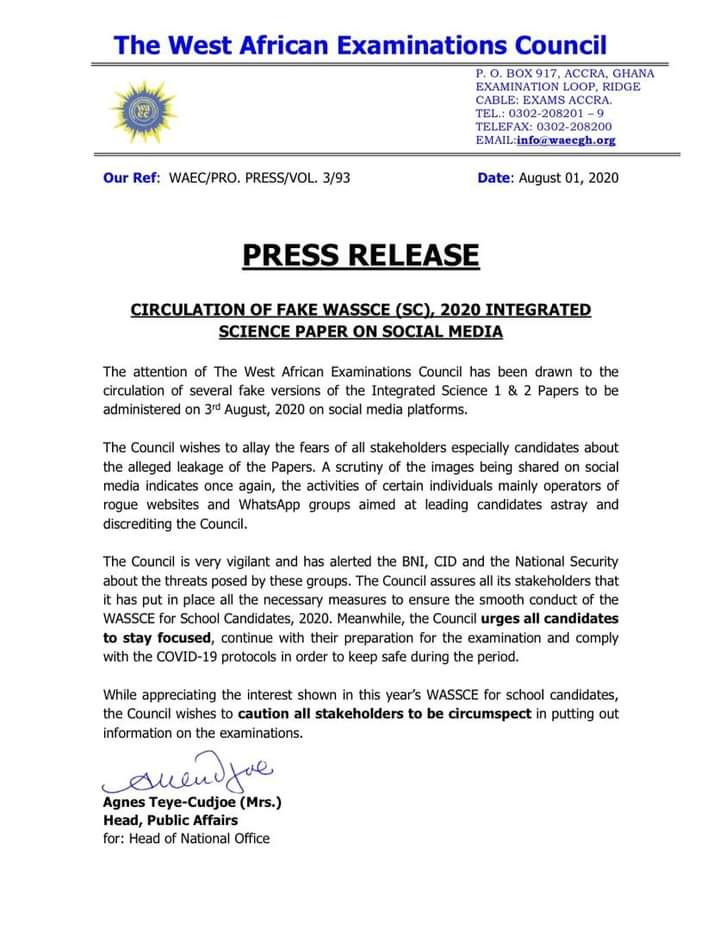 WAEC alerts BNI, CID after circulation of 'fake' 2020 WASSCE papers 1