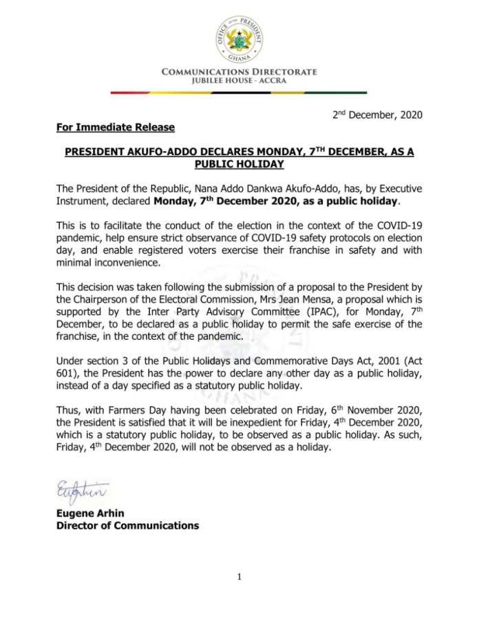 CODEO lauds December 7 holiday for election 2020