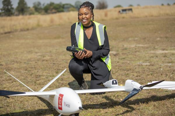 An official shows off the TRON Unmanned Aerial Vehicle (UAV): PHOTOS: supplied by SANBS