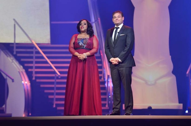 FILE PICTURE: Tumi Morake (Left) and Alan Committie welcome viewers, 5 April 2014, at the Gallagher estate in Midrand for the South African Film & Television Awards (SAFTAS). Picture: Alaister Russell