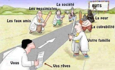 People on the side of the road are: fake friends, your family, society, the pessimistics, fear and culpability. The end of the road is your goals.