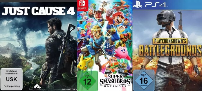 ©Square Enix ©Nintendo ©PUBG Corporation Just Cause 4 Super Smash Bros Ultimate PlayerUnknowns Battlegrounds Games Trailer Time