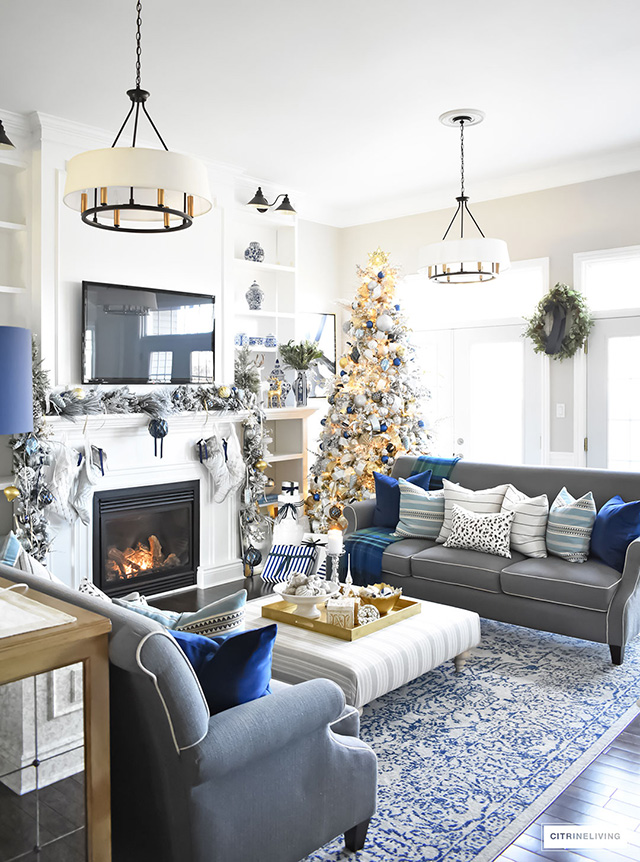 Navy White And Gold Living Rooms