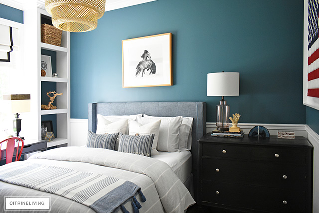 Modern coastal teen bedroom with a nod to nostalgia, woven natural elements.