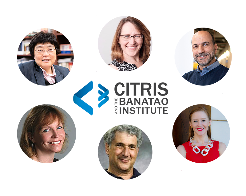 Clockwise from top center: Jill Finlayson, WITI; Maher Hakim, Foundry; Brandie Nonnecke, Policy Lab; John Zysman, Future of Work; Carolyn Remick, Development; and Connie Chang-Hasnian, NanoLab.