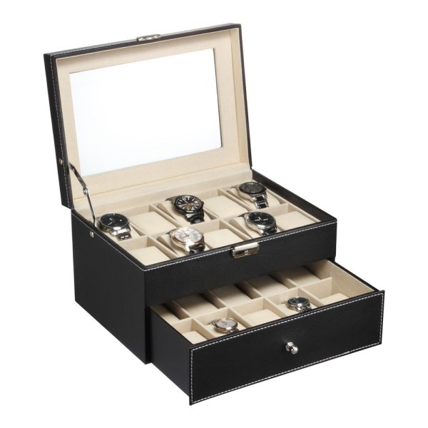Black Leather 20 Grid Mens Watch Display Case Glass Top ...