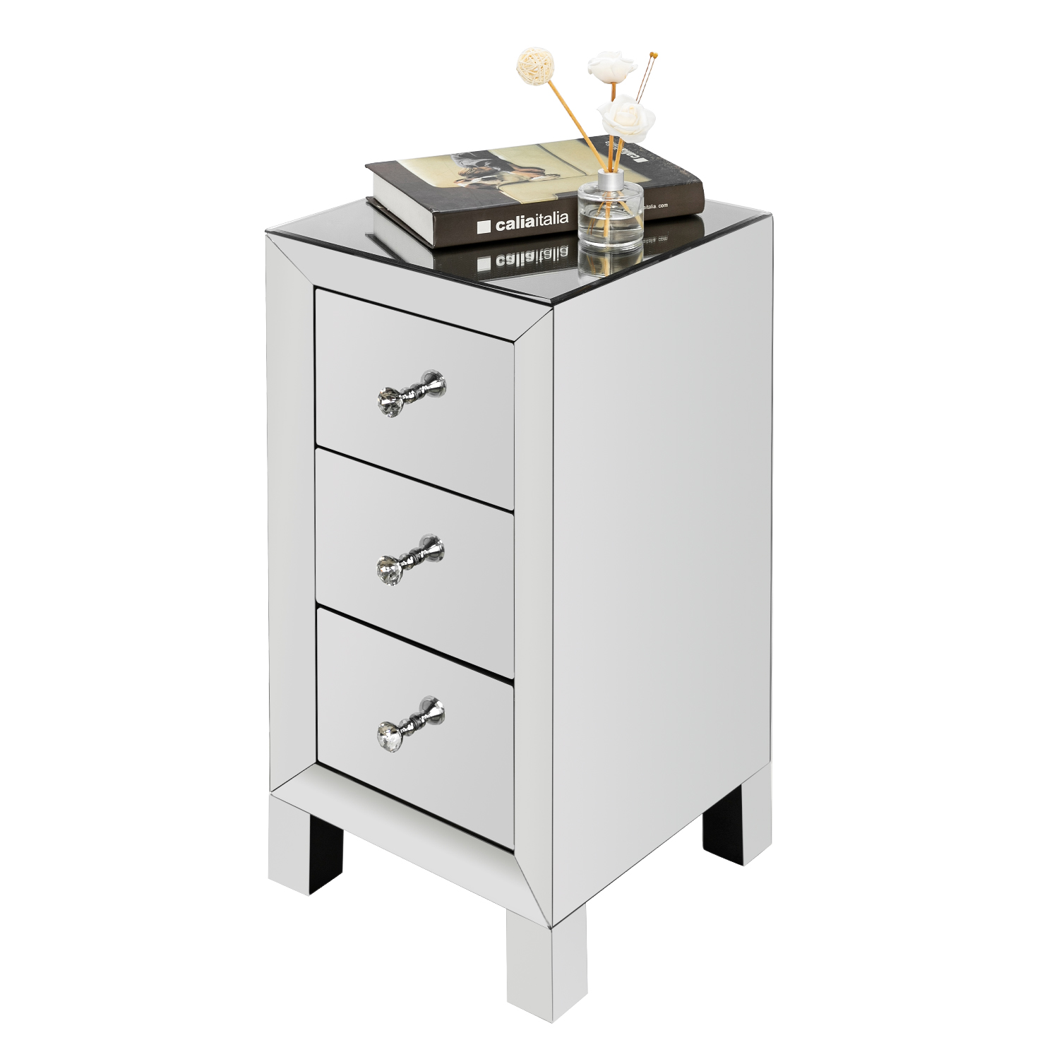 Details About 3 Drawer Mirrored End Table Modern Style Nightstand Storage Sofa Table Silver