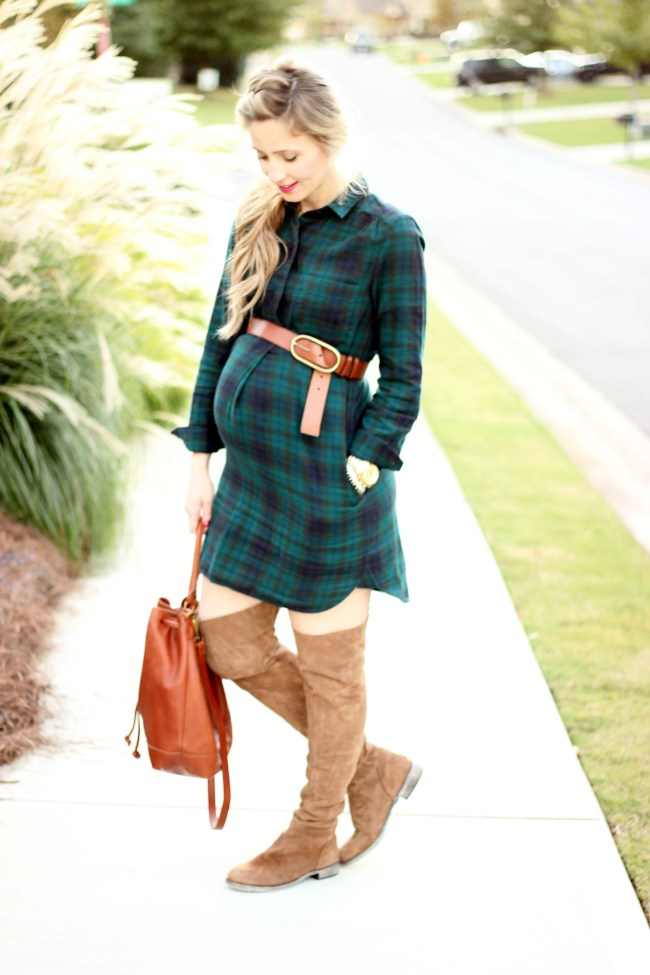 Madewell-plaid-shirtdress-bucket-bag