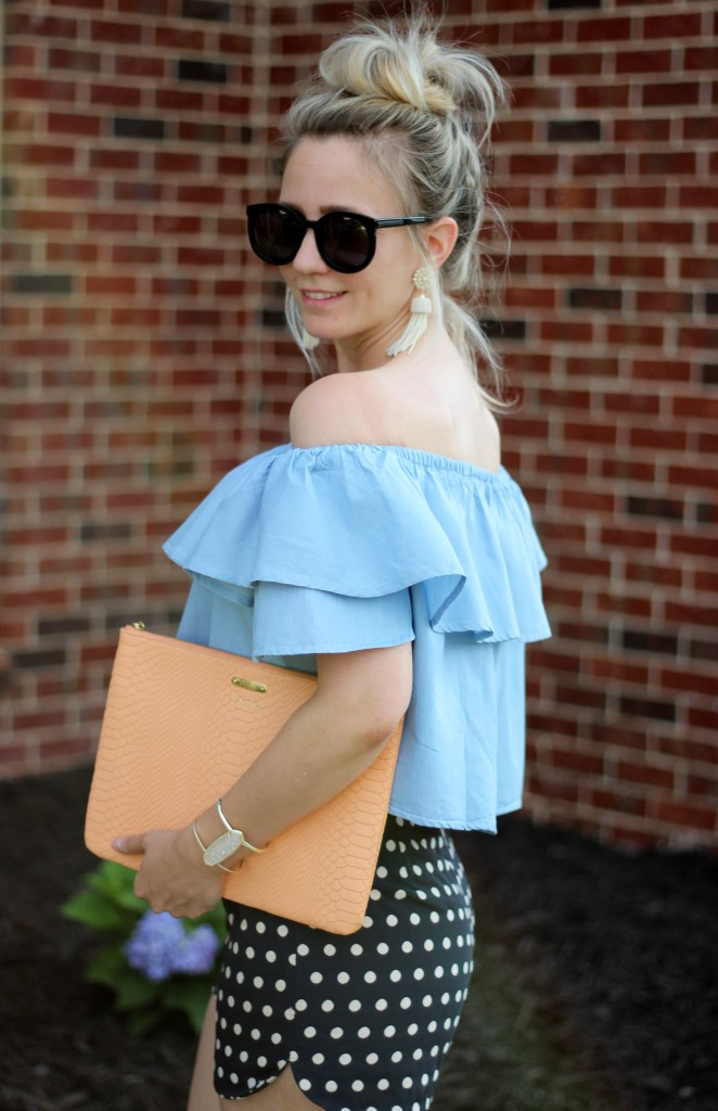 memorial-day-polka-dot-shorts-off-the-shoulder-top-outfit