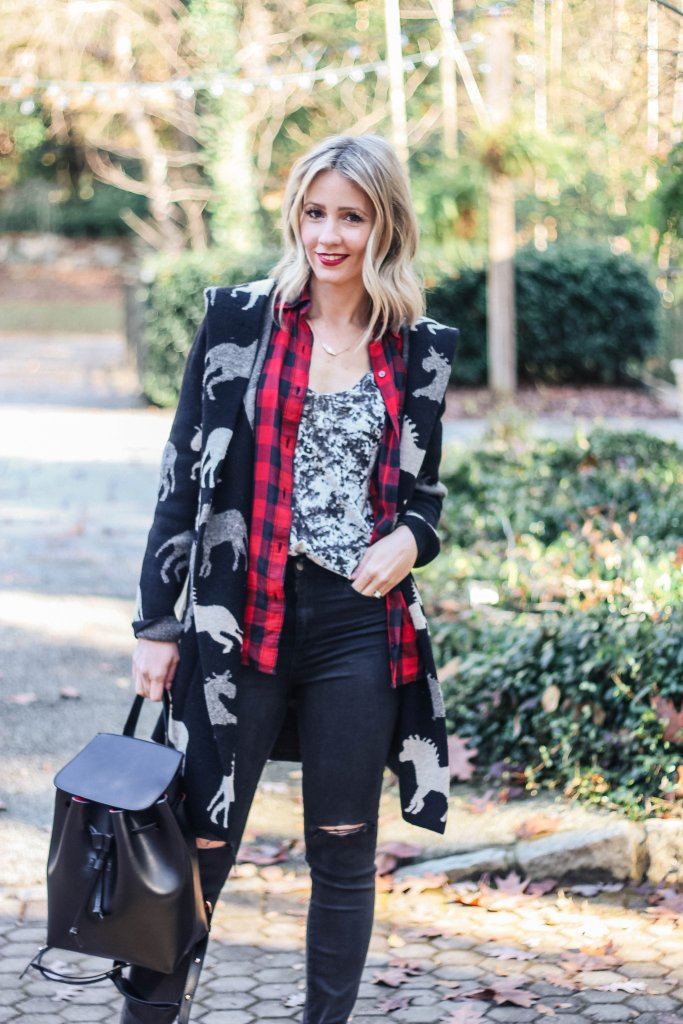crush-velvet-plaid-horse-sweater-coat-black-jeans-city-peach