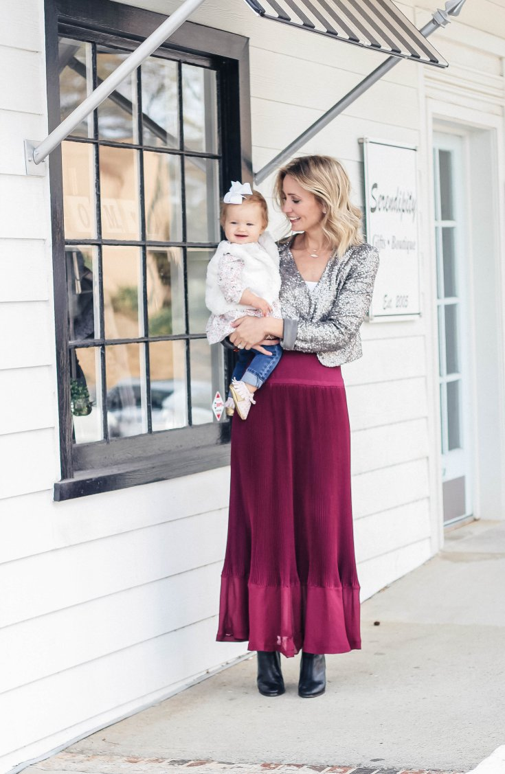mommy-and-baby-holiday-outfit-sequin-blazer-accordion-maxi-skirt-city-peach