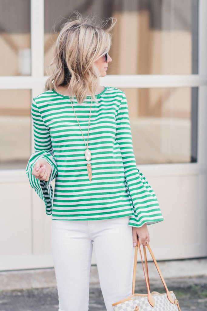 bell-sleeve-top-white-jeans-city-peach-st-patricks-day-outfit
