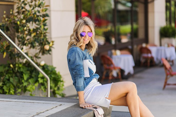 NY-sweatshirt-worn-with-denim-skirt-high-waist-DIFF-eyewear-mirror-sunglasses-city-peach