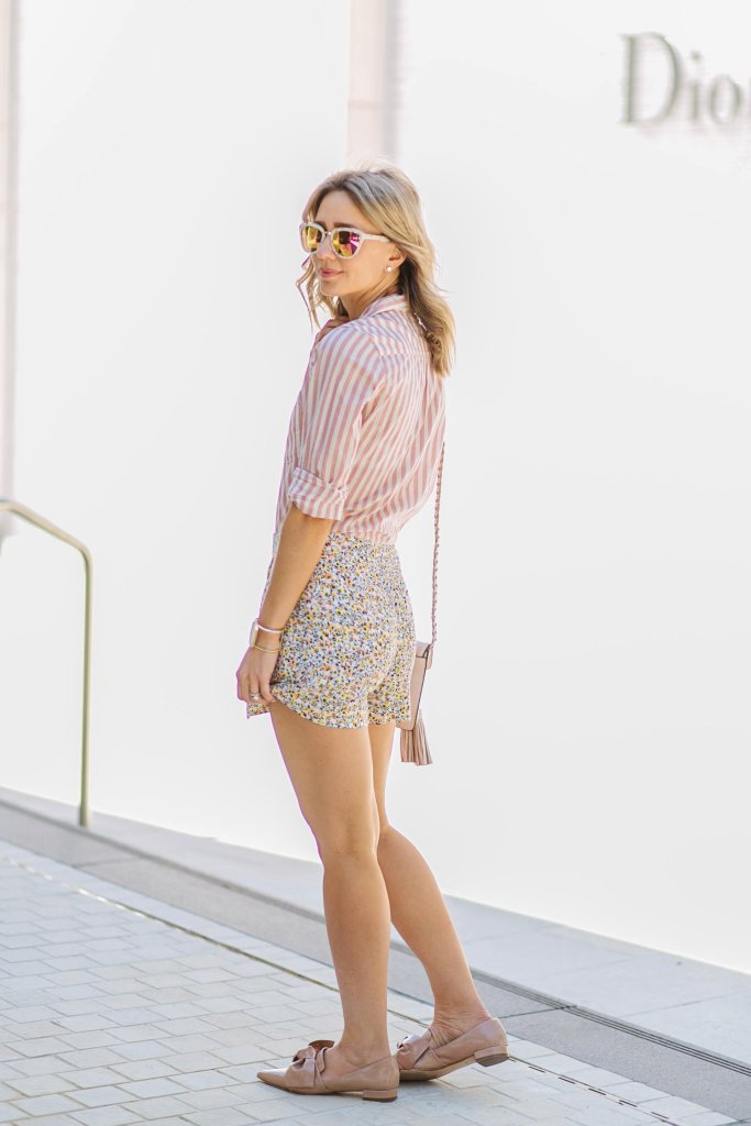 pattern-mixing-stripes-with-florals-DIFF-high-waist-shorts-city-peach