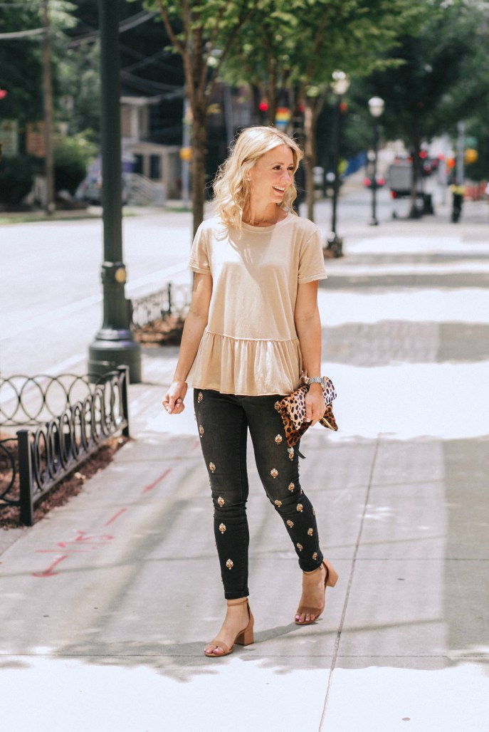 peplum-tee-embellished-jeans-Anthropologie-leopard-clutch-city-peach