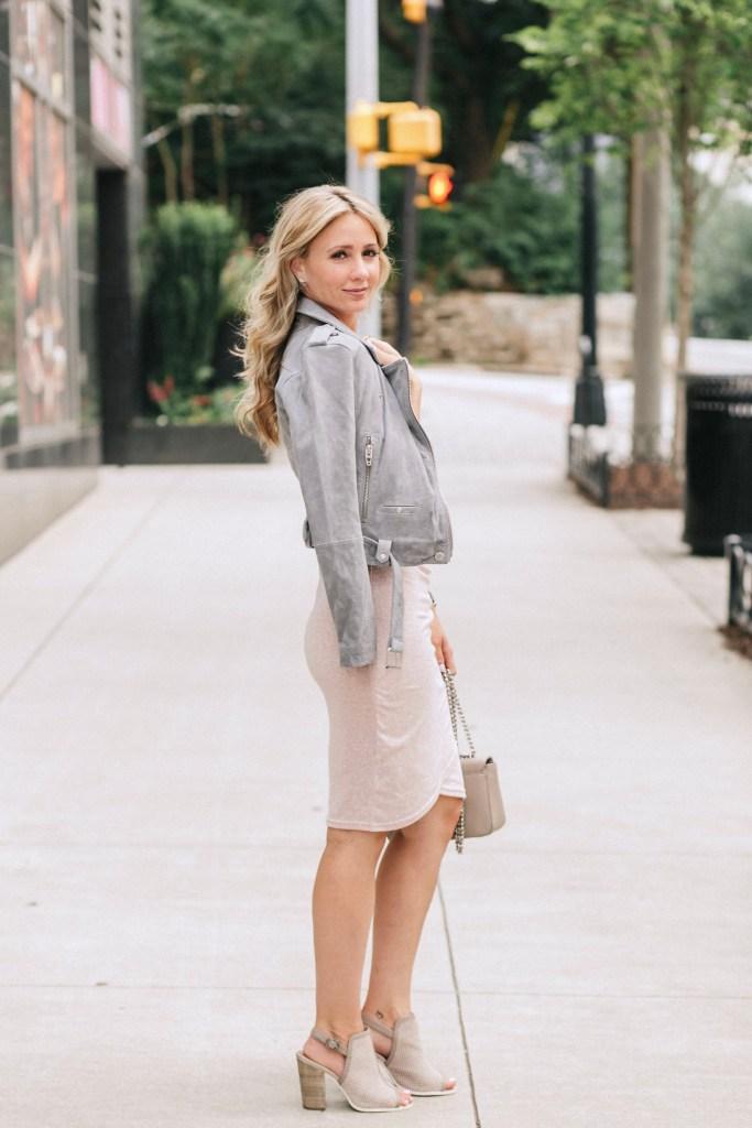grey-suede-moto-jacket-blank-nyc-pencil-dress-city-peach