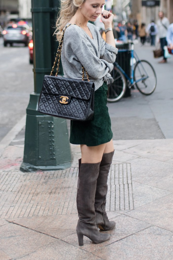 suede-skirt-NYFW-streetstyle-over-knee-boots-city-peach