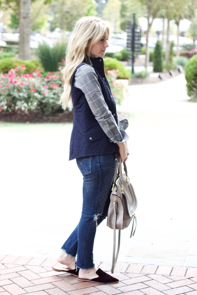 untuckit-plaid-quilted-vest-pencil-skirt-layered-look-city-peach
